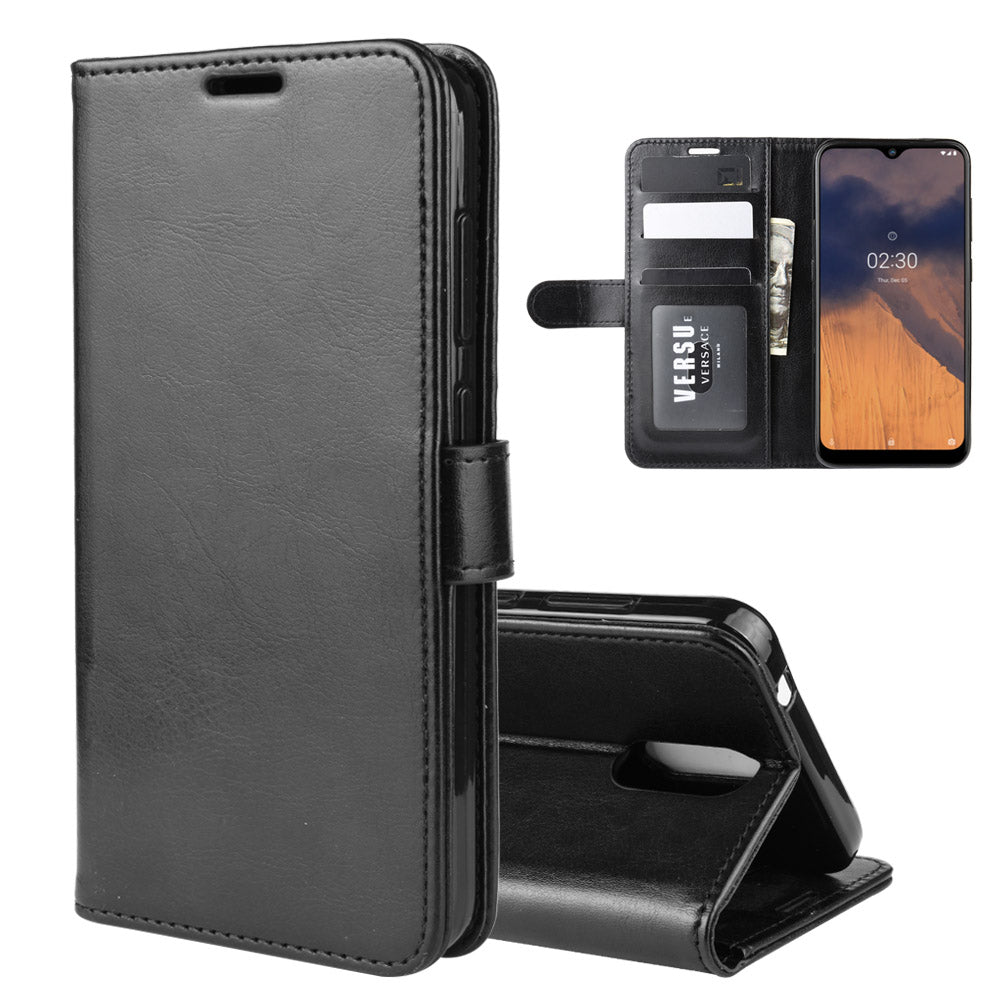Nokia 2.3 Leather Case Magnetic Closure Credit Card Slot Slim PU Leather Wallet Cover Black