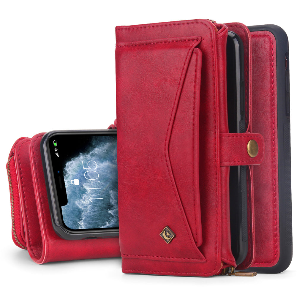 Wallet-Case for iPhone 11 Pro Magnetic Detachable Shock-Proof TPU Case with Multiple Card Slots Red