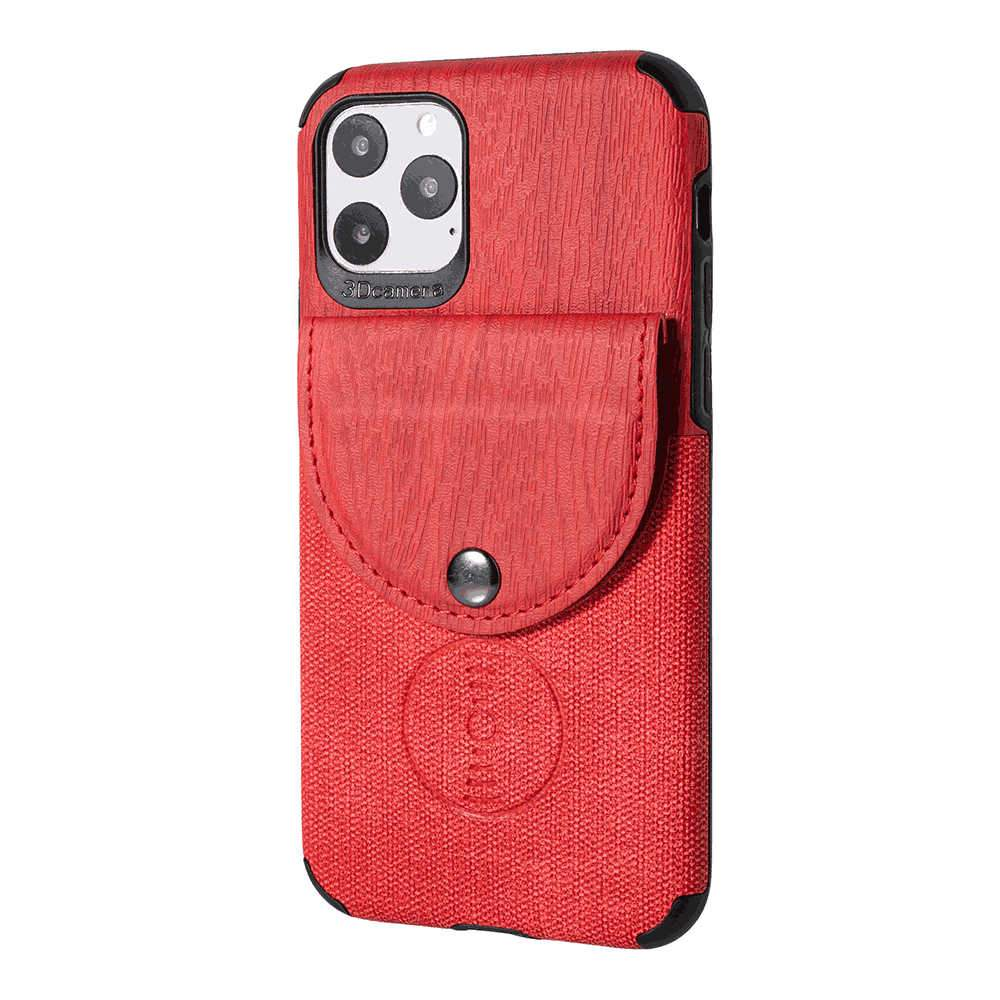 Leather Case for iPhone 11 Slim Protective Case with Credit Card Slot Holder PU Leather Cover Red