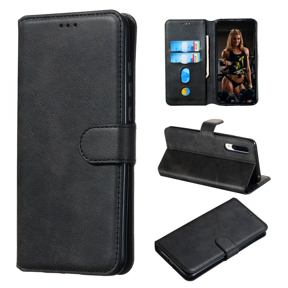 Xiaomi Mi CC9 Leather Case Credit Card Wallet Slim Fit Flip Cover with Kickstand Black