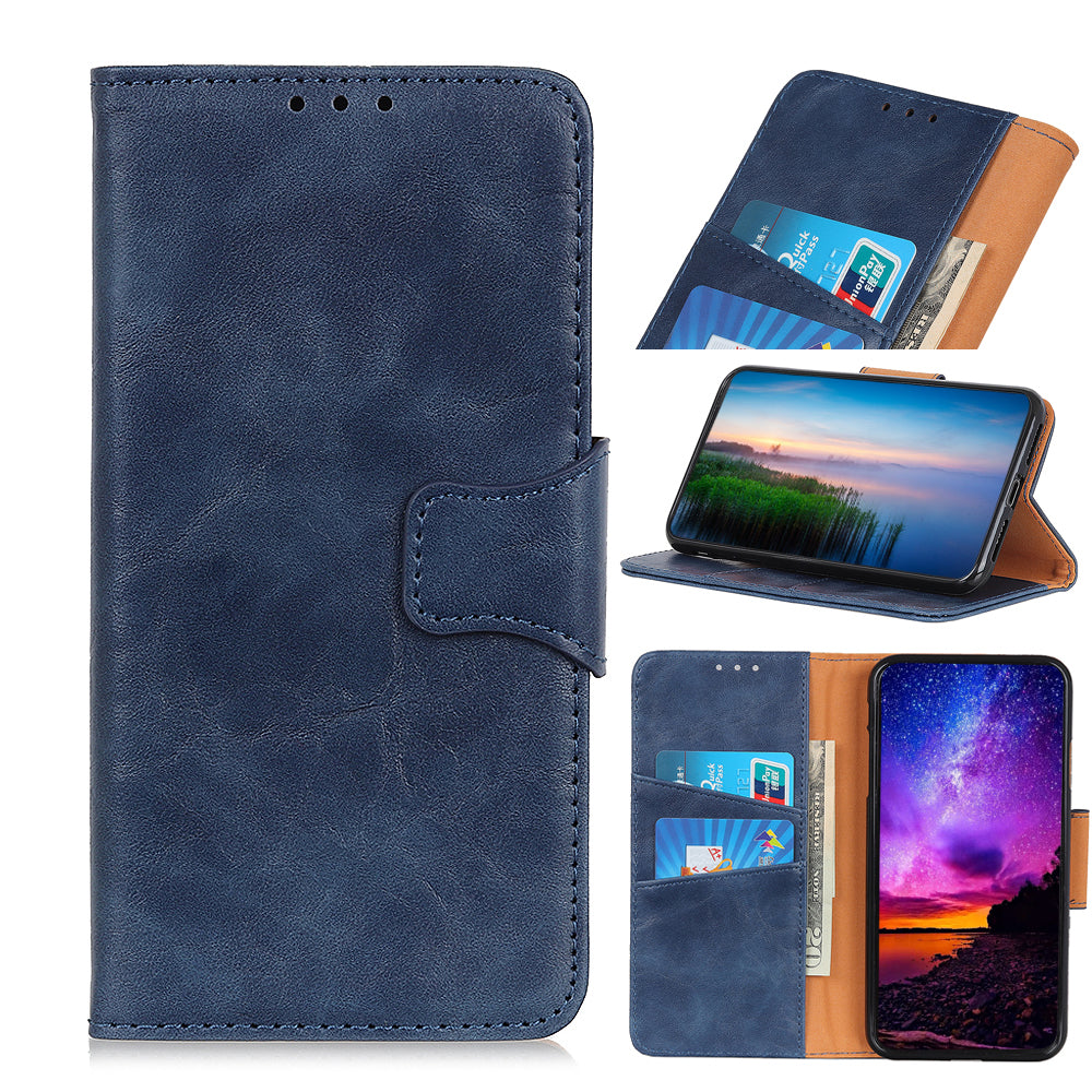 Realme X2 Pro Wallet Case Leather Wallet Flip Folio Cover with Card Slot & Stand Holder Blue