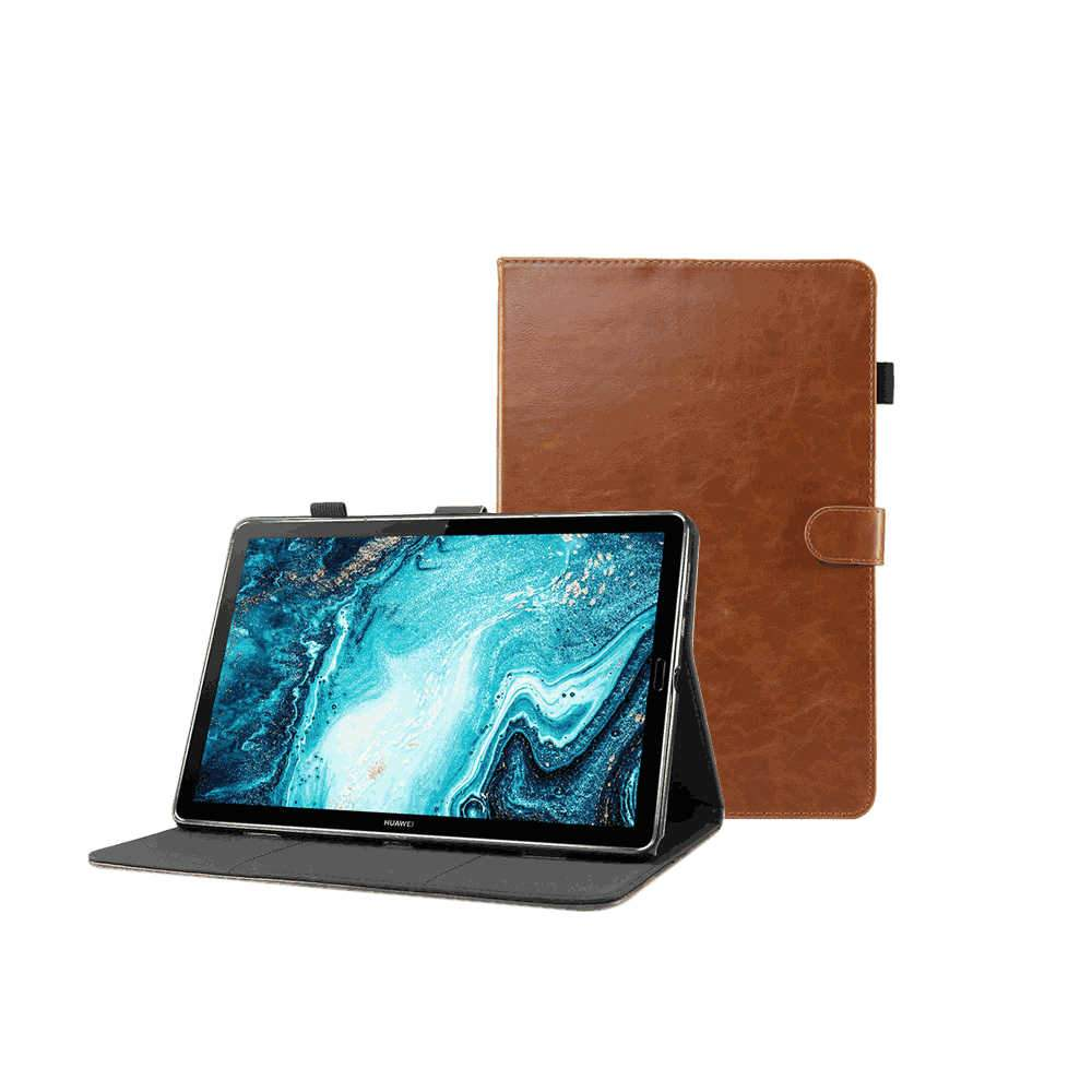 Huawei MatePad Pro 10.8 Inch Case Leather Folio Smart Cover with Pencil Holder Card Holder Light-brown