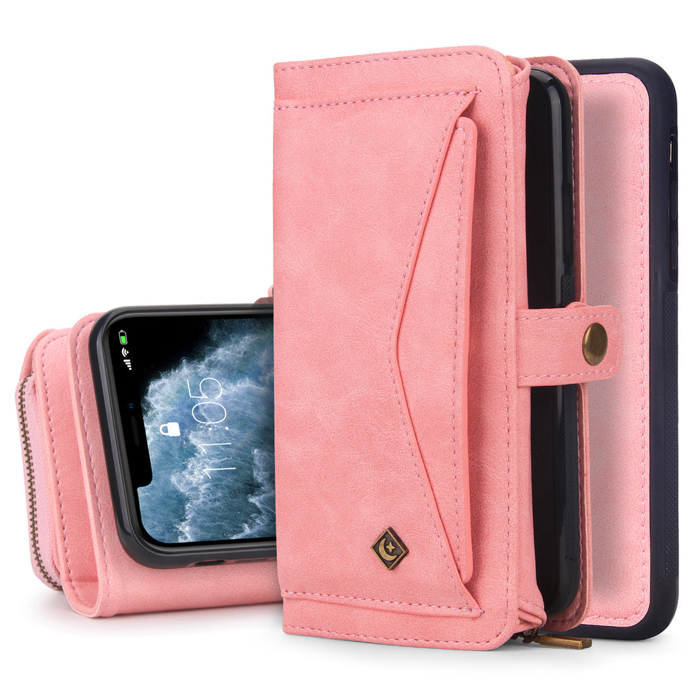 iPhone 11 Pro Leather Cover Magnetic Flip Case with Card Slots Holder Pink