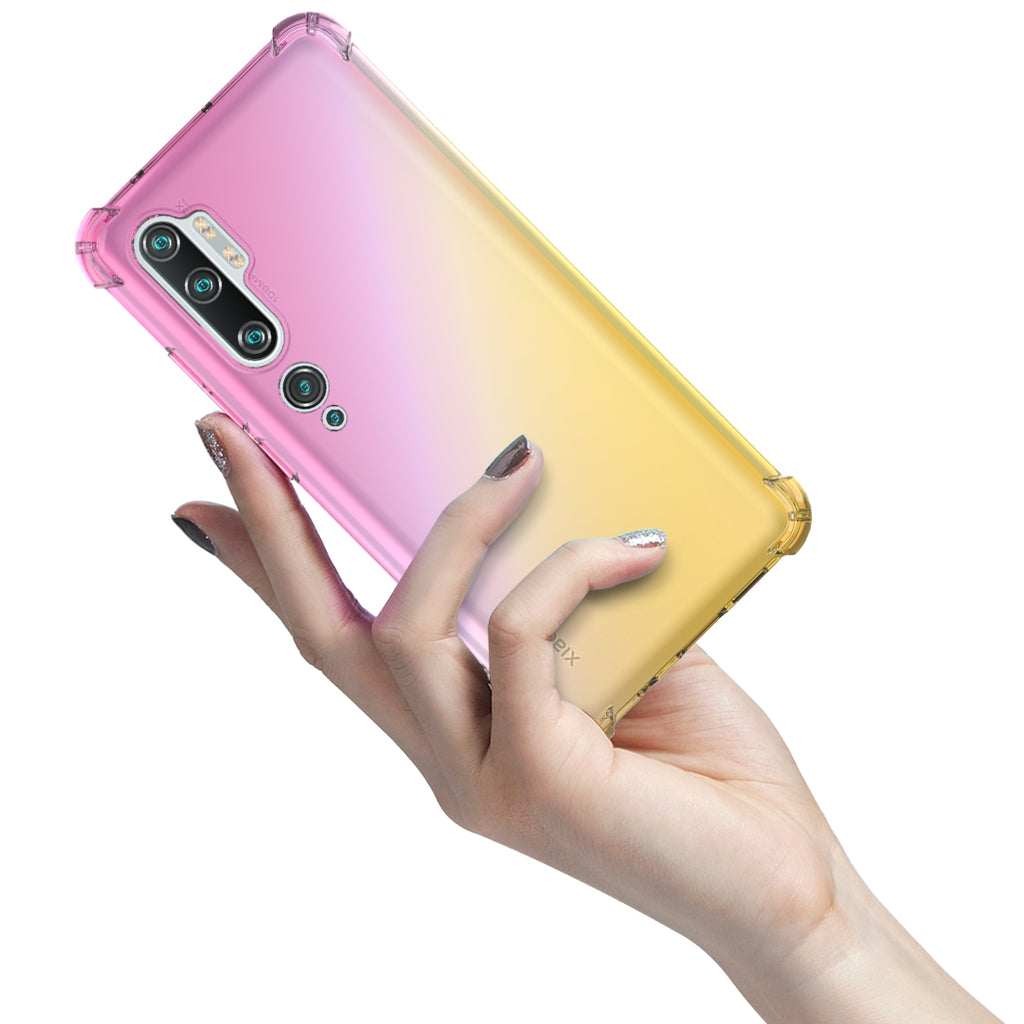 Xiaomi Mi Note 10 Pro Case TPU Shockproof Protection Clear Cell Phone Cases Pink-golden
