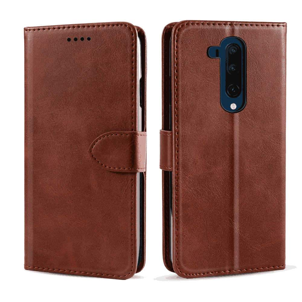 OnePlus 7T Pro Wallet Case Slim Fit Flip Leather Case with Card Holder Stand Brown