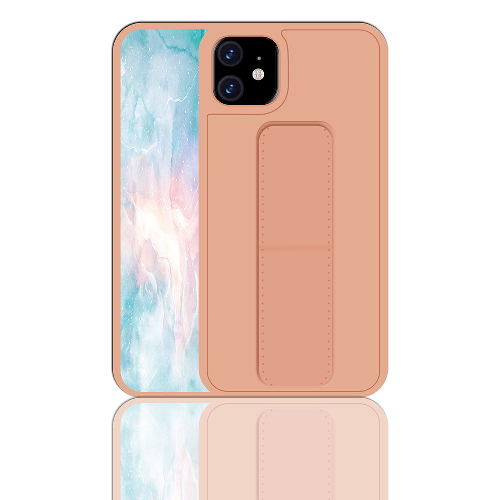 iPhone 11 Phone Case PC+PU Anti-Fall Protective Cover with Belt Bracket Rose Gold