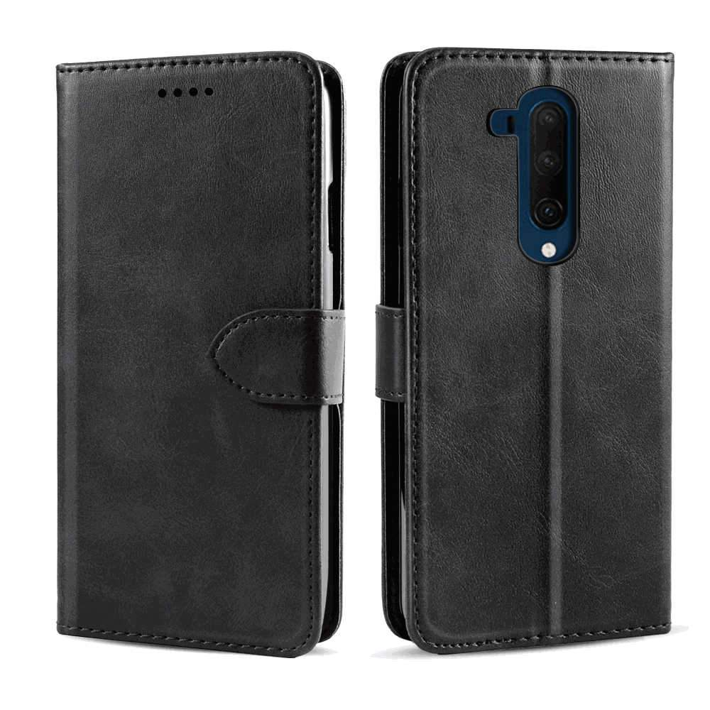 OnePlus 7T Pro Leather Case Magnetic Cover with TPU Full Body Shockproof Thin Case Black