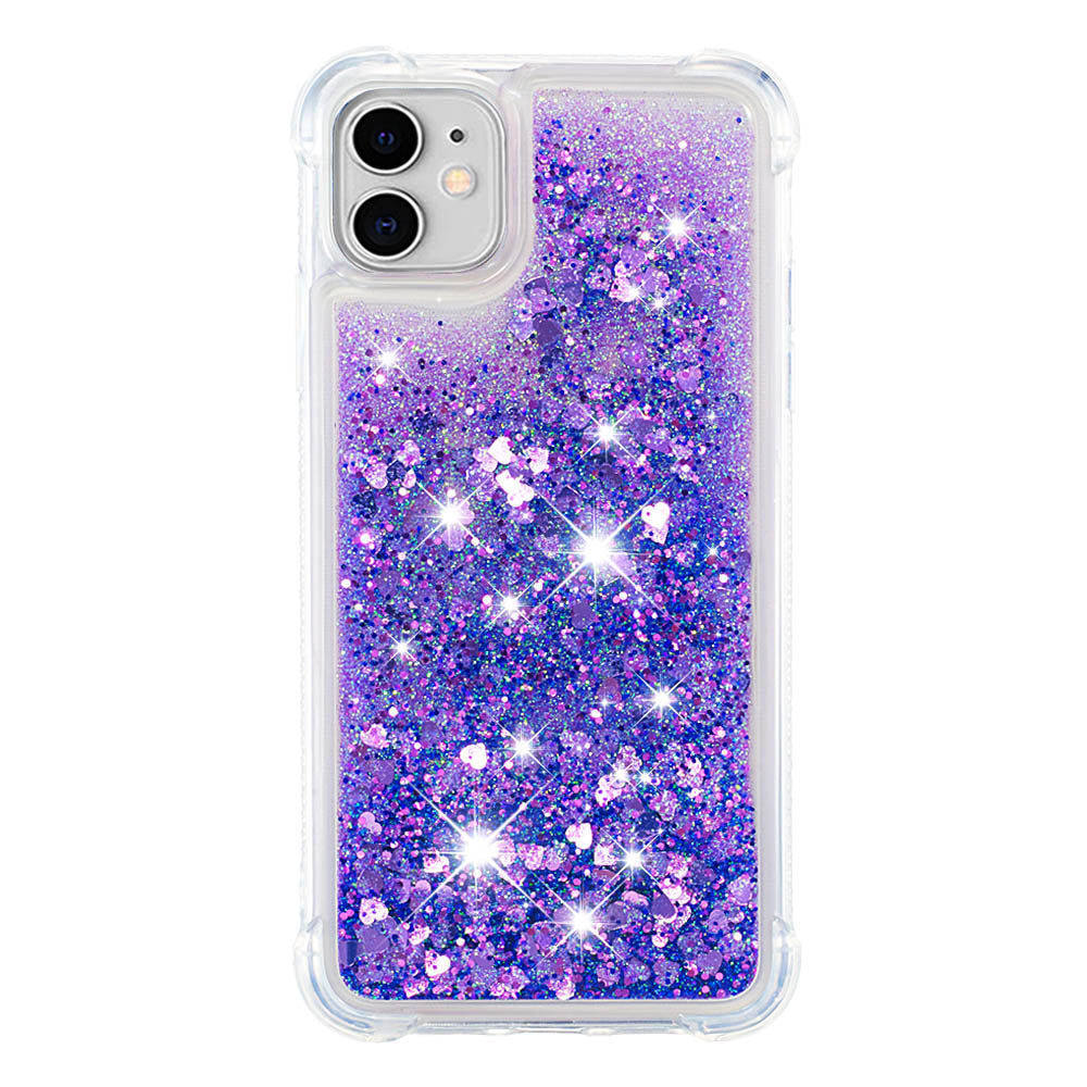 iPhone 11 Case Glitter Liquid Case Floating Bling Sparkle Luxury Phone Case Purple