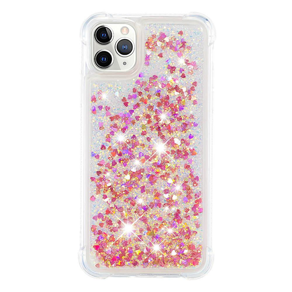 iPhone 11 Pro Case Sparkly Floating Liquid Glitter Protective Shockproof TPU Cover Rose Gold