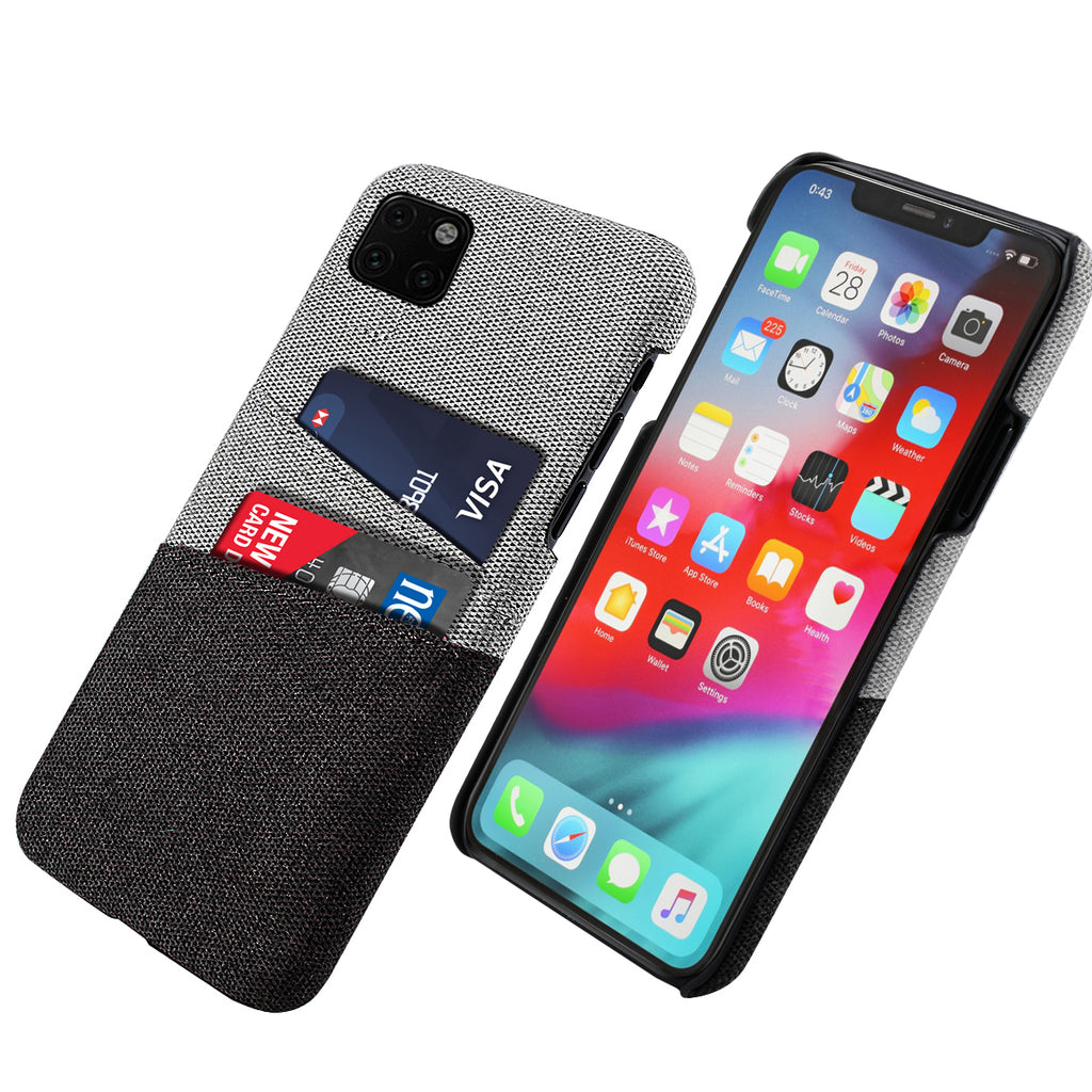 iPhone 11 pro Case Fabric Cover Wallet Card Slots Hard Case Black