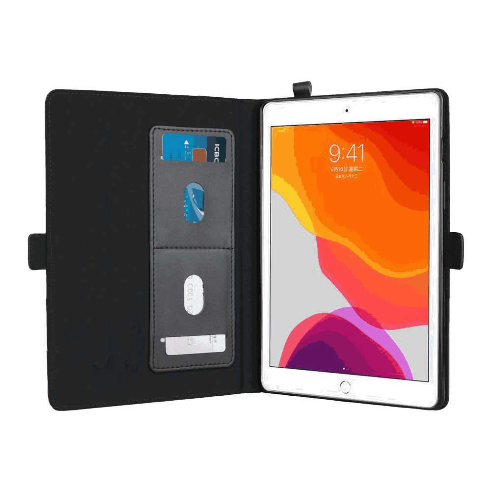 Leather Case for iPad 10.2 Inch 2019 with Card Slots Multiple Viewing Angles Black