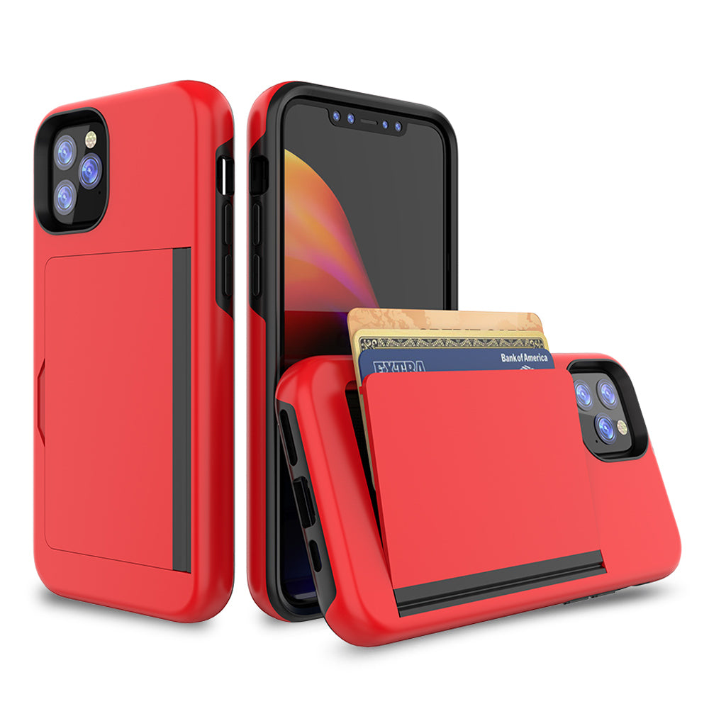 iPhone 11 Pro Max Case Card Holding Case Hybrid Shockproof Phone Cover Red