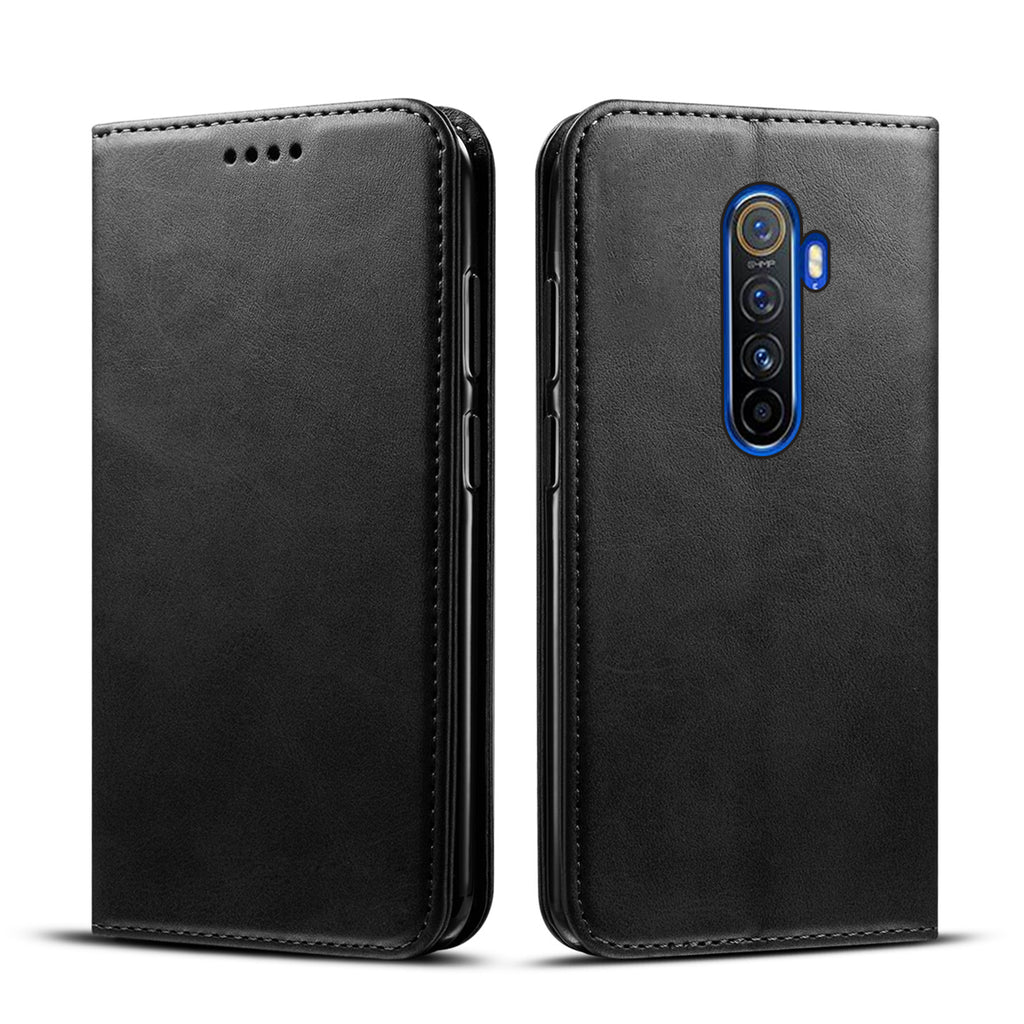 Realme X2 Pro Leather Case Card Holder Stand Magnetic Cover Dropproof Flip Wallet Case Black