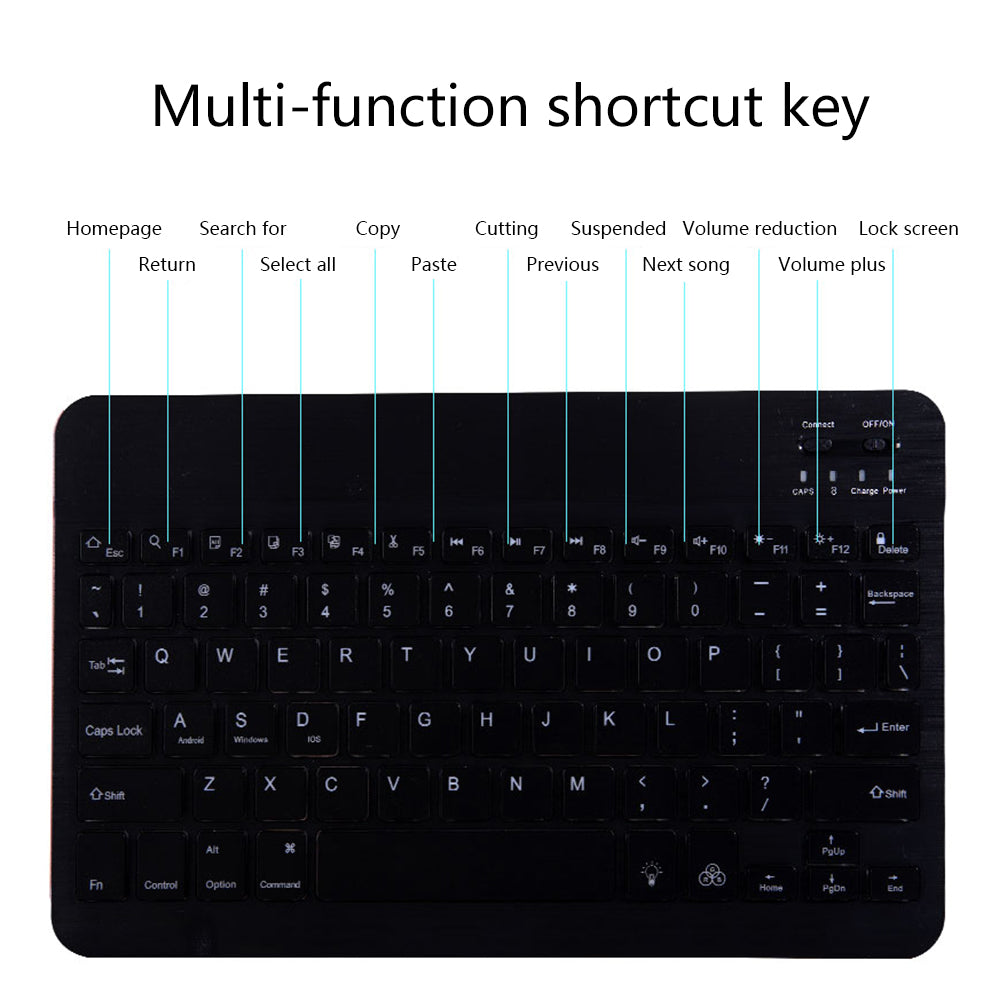 Bluetooth Keyboard Portable Rechargeable Wireless Bluetooth 3.0 Keyboard with 7-Colors Backlight Black