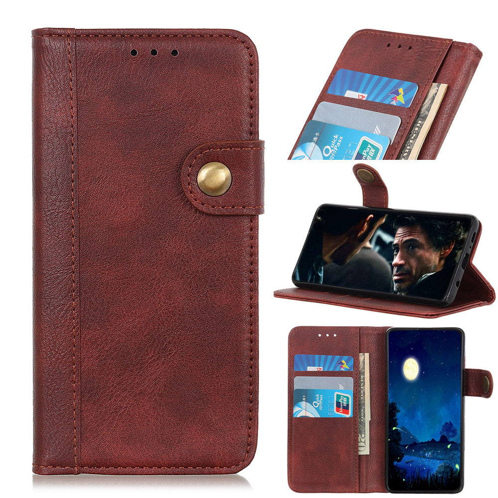 Samsung Galaxy S10 5G Wallet Case with Card Holder Leather Flip Stand Cover Brown