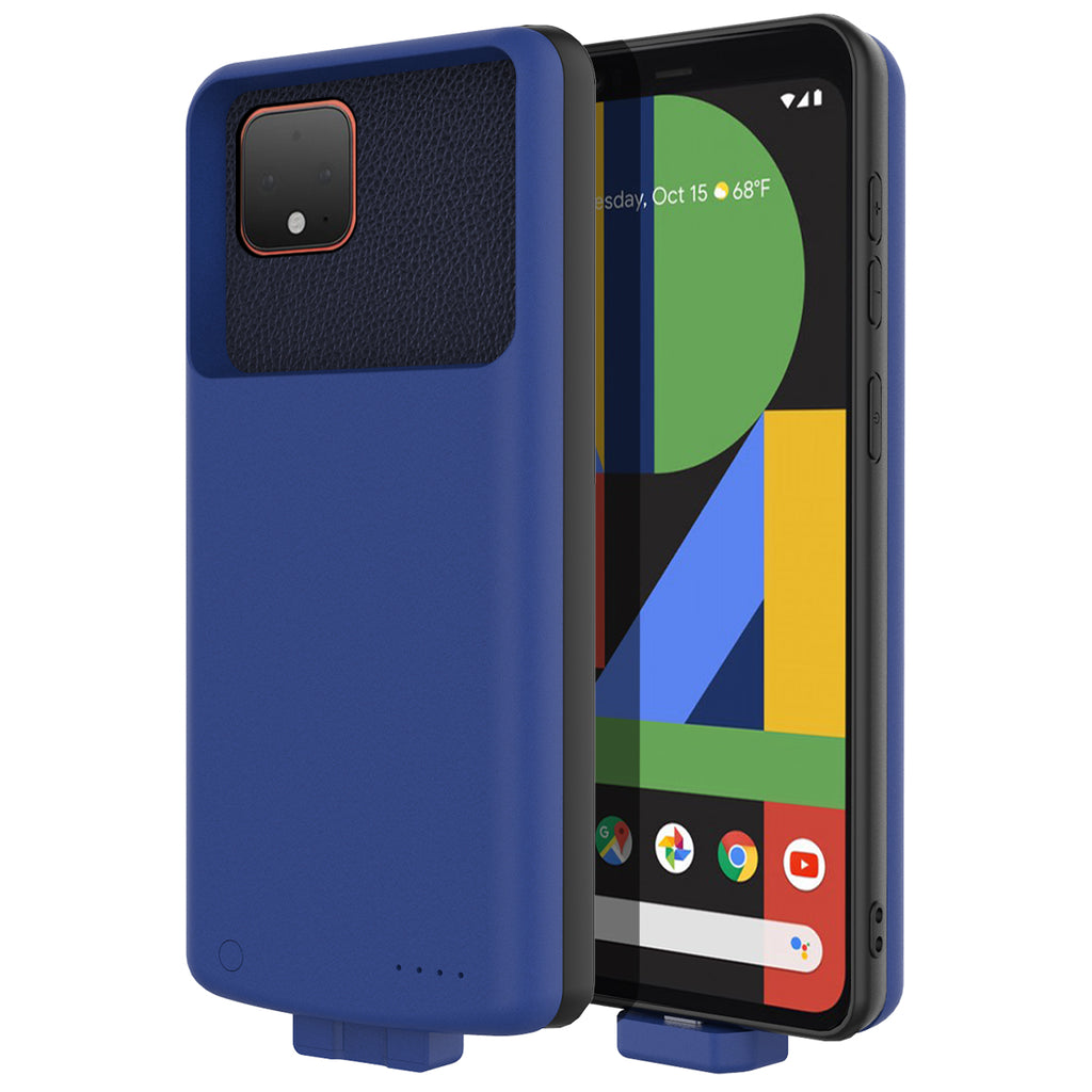 Pixel 4 XL Battery Charging Case Portable Protective Case 7000mah Extended Battery Pack Blue