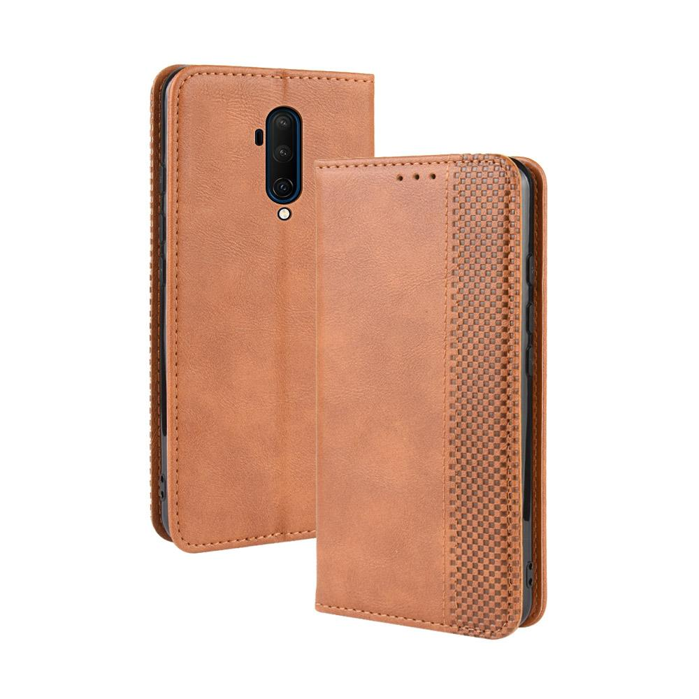 Oneplus 7T Pro Leather Case with Card Slot Magnetic Closure for Oneplus 7T Pro Brown