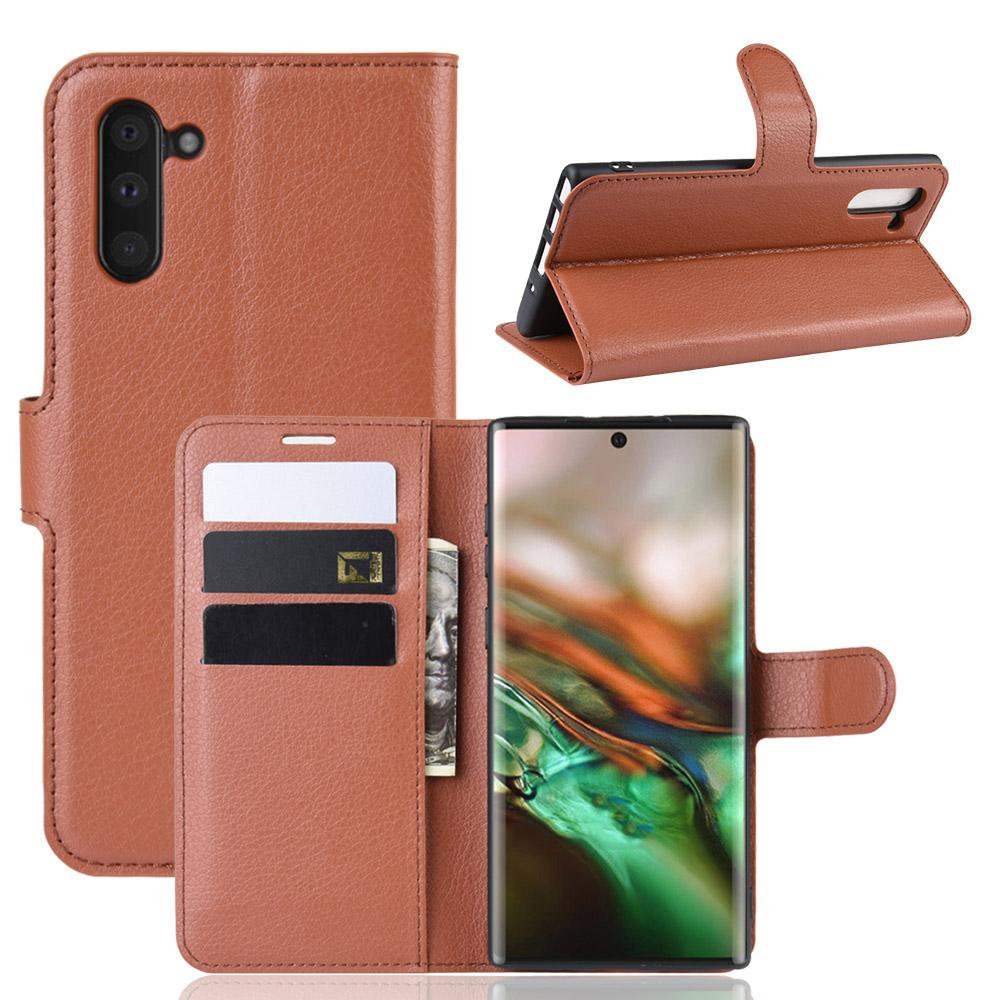 Samsung Galaxy Note 10 leather case protective wallet with card holder & kickstand brown