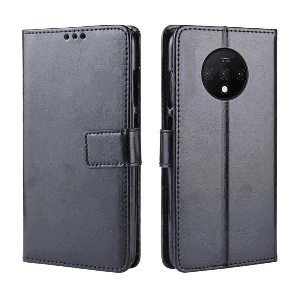 Oneplus 7T Wallet Case Flip Stand Leather Protective Case with Card Slots Black
