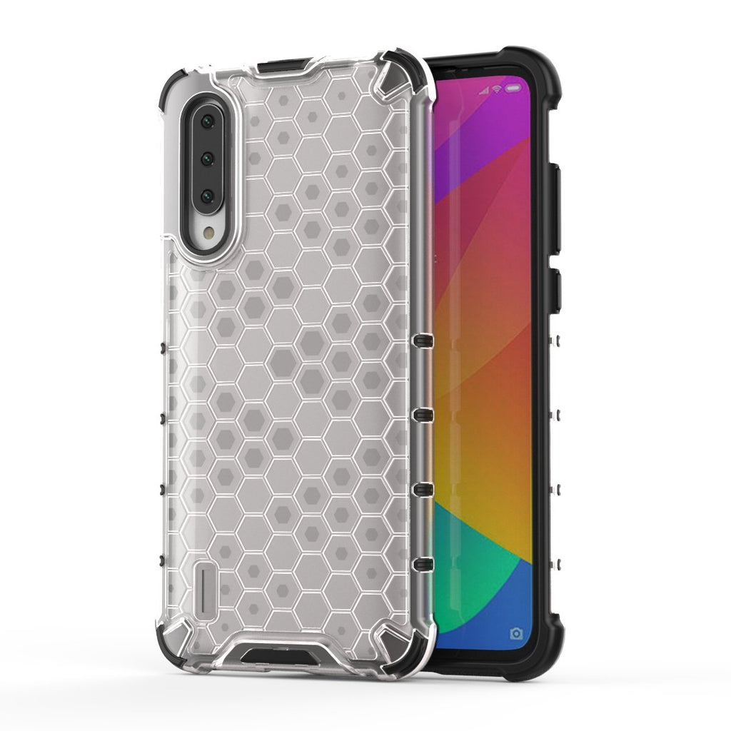 Xiaomi Mi CC9 Case TPU + PC Shockproof Anti-scratch Protective Shell Honeycomb Style Siliver