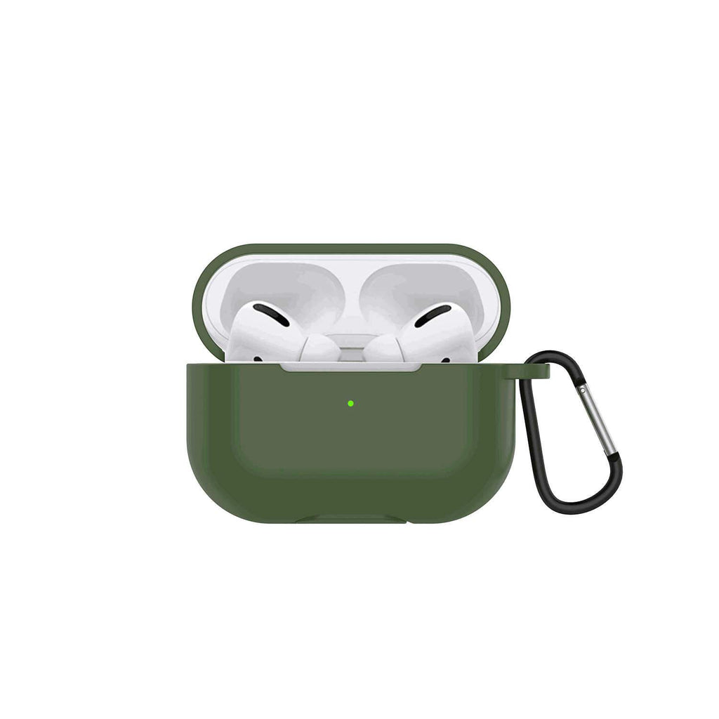 Silicone Protective AirPods Pro Case Cover with LED Indicator & Charging Port Army Green
