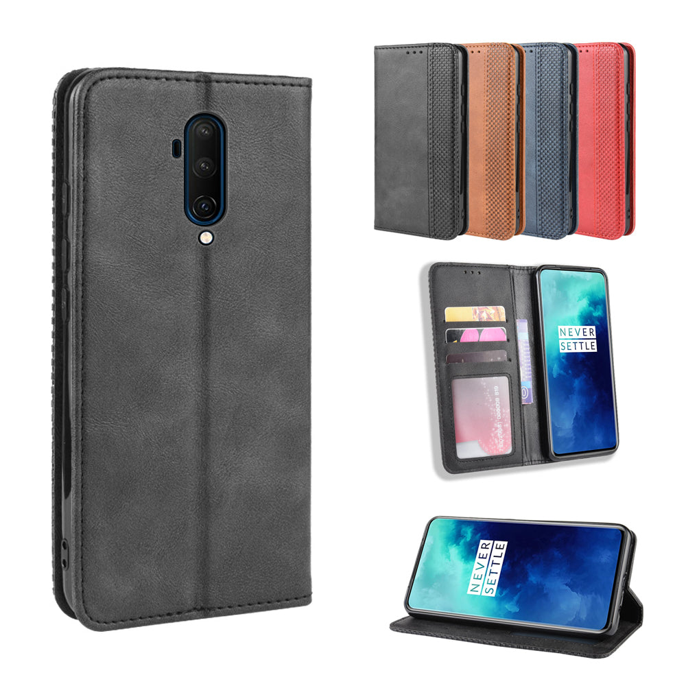 Oneplus 7T Pro Wallet Case Magnetic Leather Flip Stand Cover with Card Slots Black