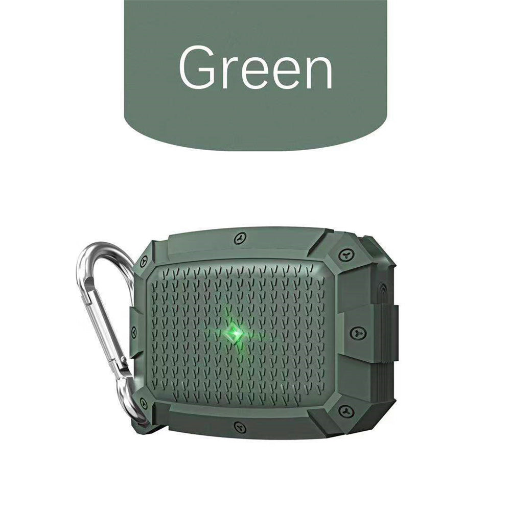 Armor Airpods Pro Case 2019 Front LED Visible Compatible with Wireless Charging Heavy Duty Protective Cover Green