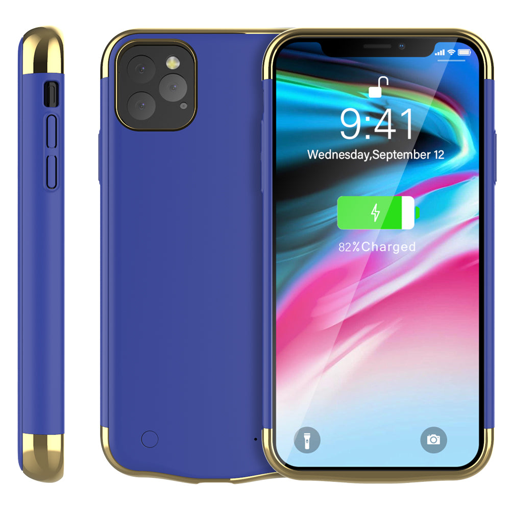 iPhone 11 pro Battery Case 5500mAh Rechargeable Extended Backup Protective Phone Charger Blue