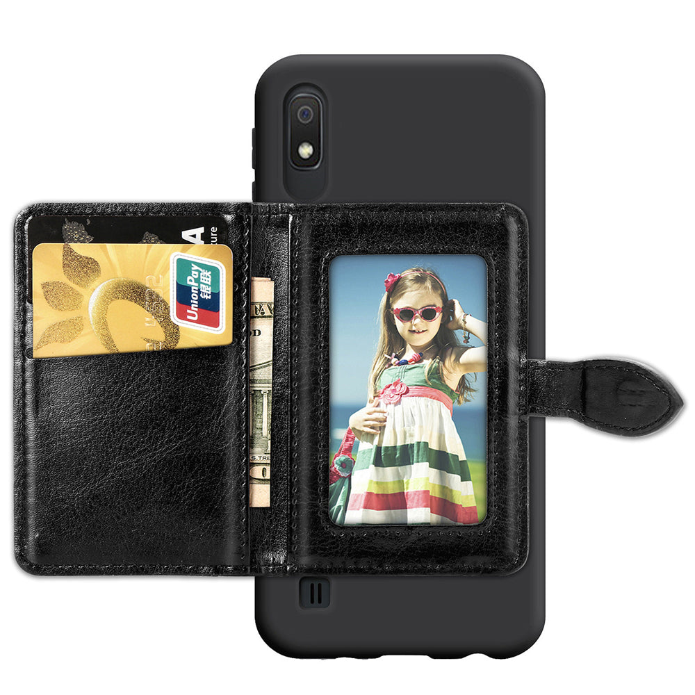 Samsung Galaxy A10 Case Cover PU Leather Case with Credit Card Slots Shockproof Case Black
