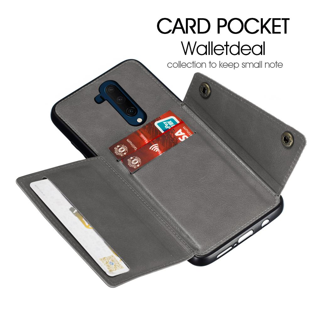 Case for Oneplus 7T Pro with Wallet Card & Kickstand Reinforced Drop Protection Cover Grey