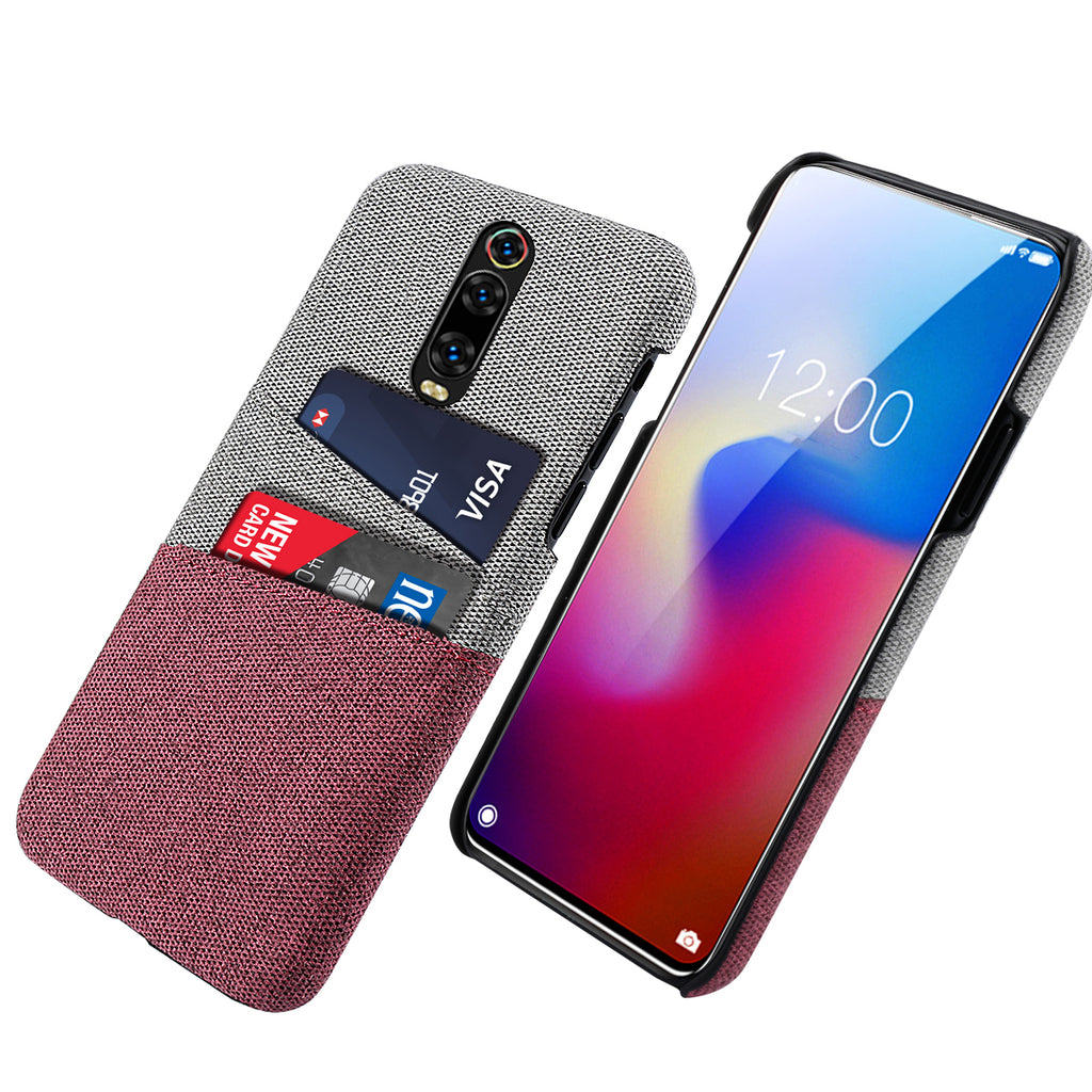 Fabric Case for Redmi K20 Pro with Card Holder Phone Protection Cover Red