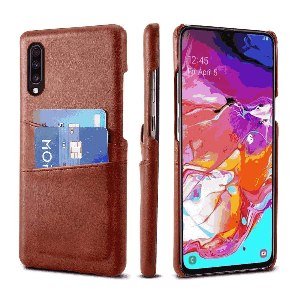 Wallet Case for Samsung Galaxy A71 Slim PU Leather Card Case with 2 Card/ID Holder Slots Dark Brown