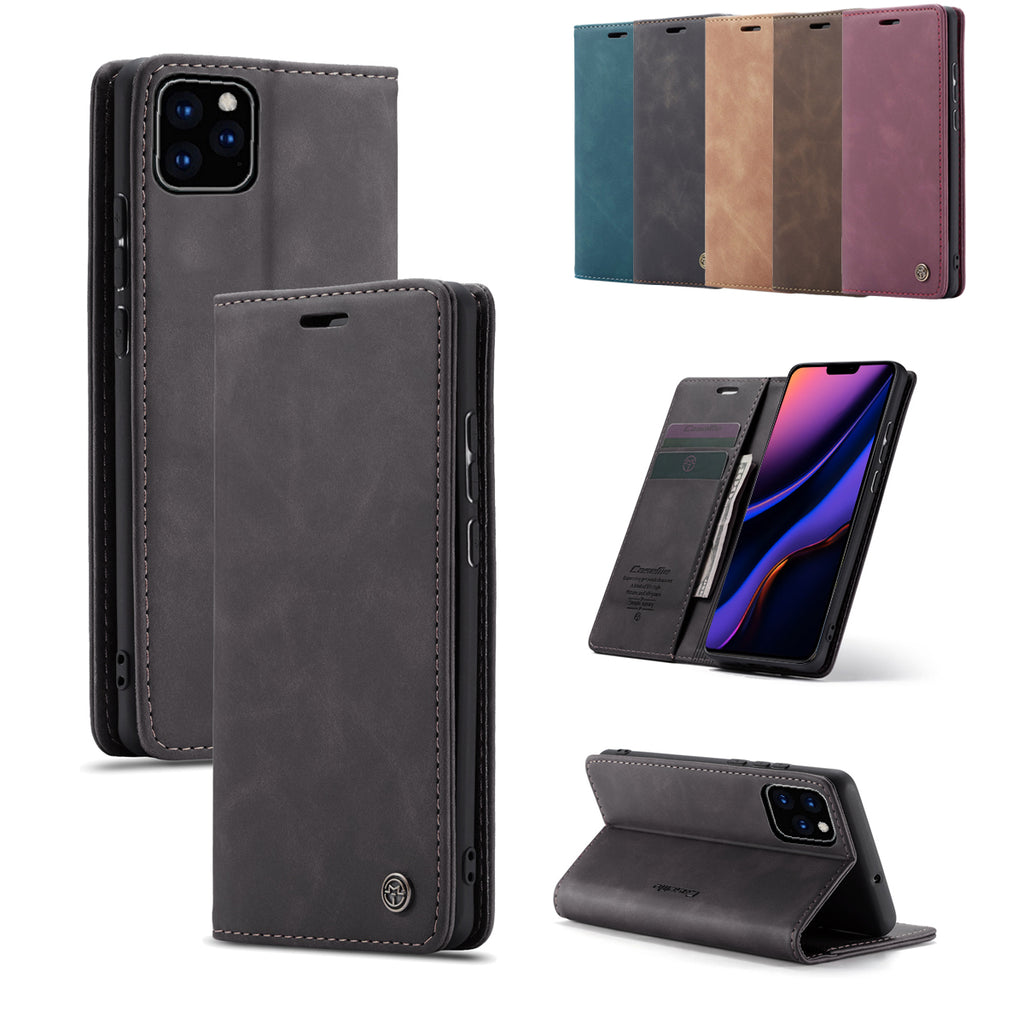 Wallet Case for iPhone 11 pro Shock-proof Leather Flip Cover with Card Slots Kickstand Black