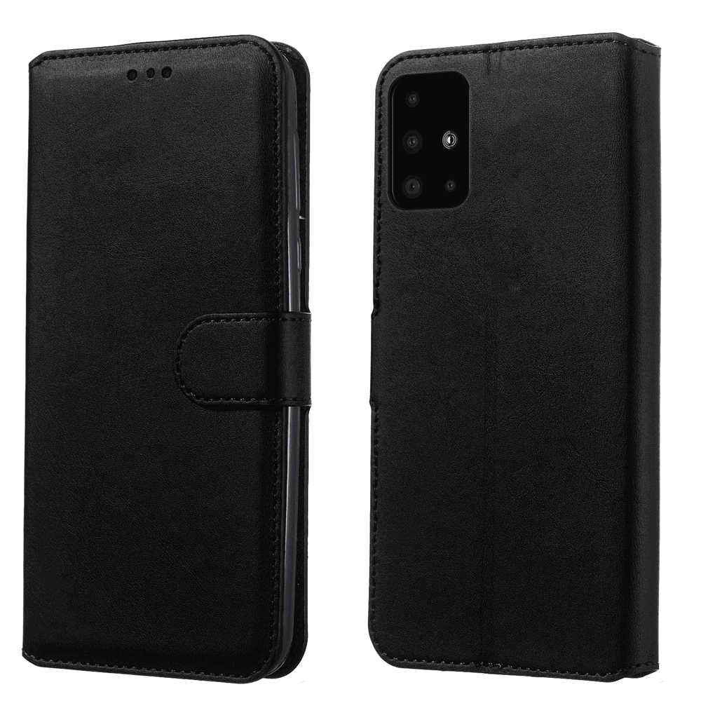 Samsung Galaxy A51 Wallet Case Flip Stand Cover with Card Slots Calf Grain PU Leather Case Black