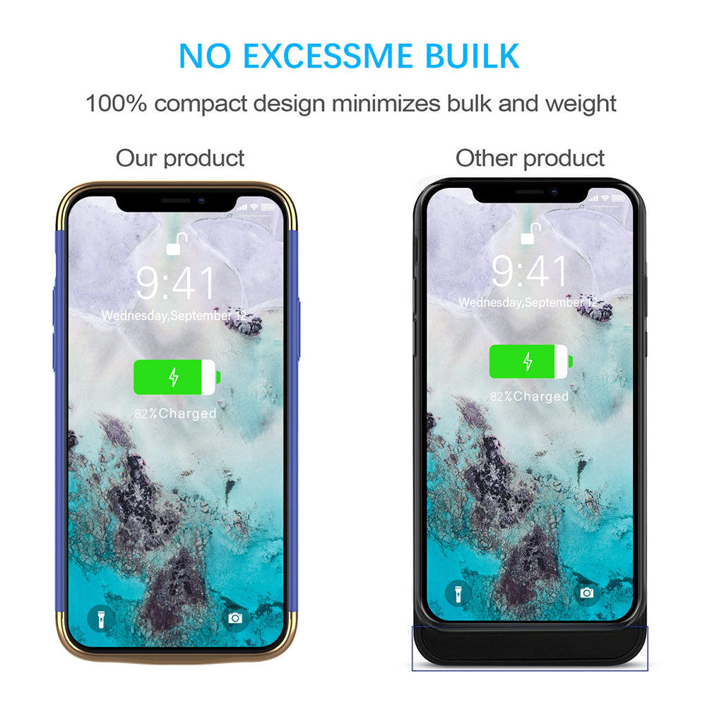 iPhone 11 Charging Case 6000mAh Extended Rechargeable Battery Cover Backup Blue