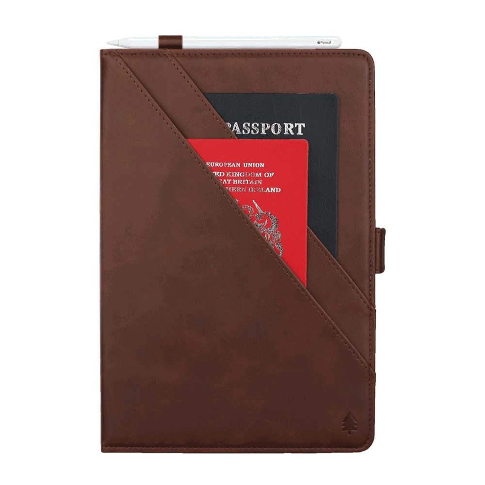 iPad 10.2 Inch 2019 Leather Case Smart Folio Cover with Card Slots/Pocket Pencil Holder Coffee