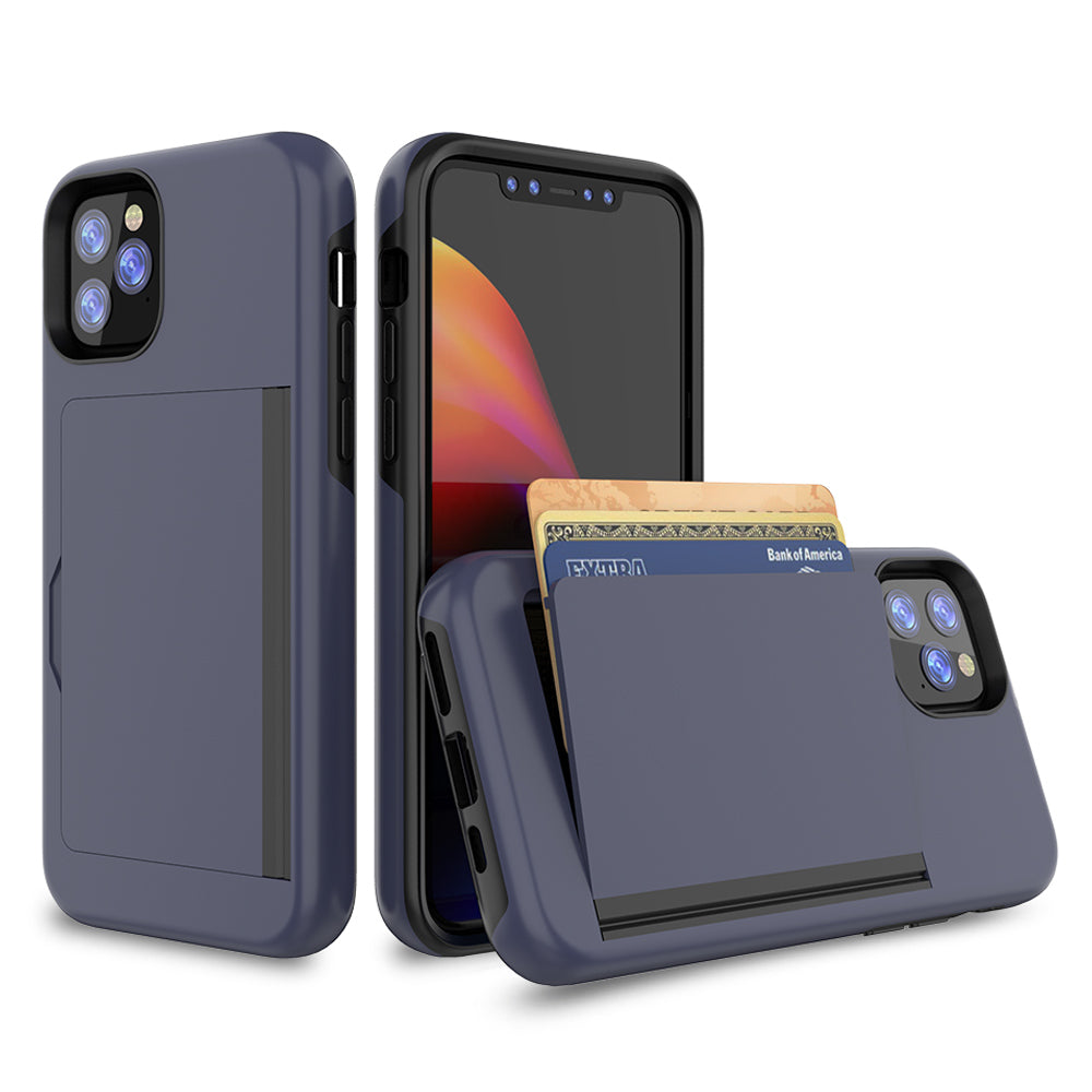 iPhone 11 Pro Max TPU & PC Armor Shell with Card Holder Protection Cover Navy