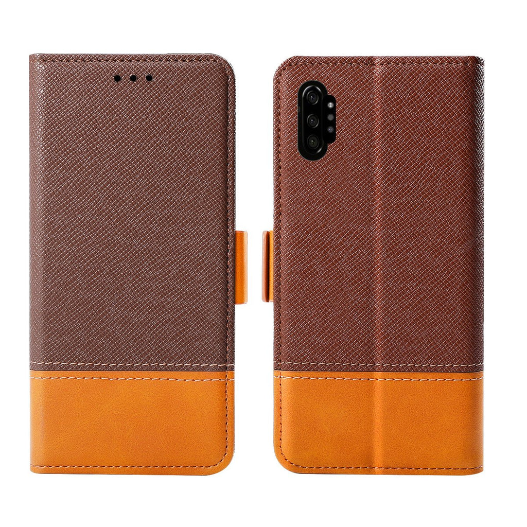 Leather Case for Galaxy Note 10 plus Wallet Card Holder with Kickstand Contrast Color Brown