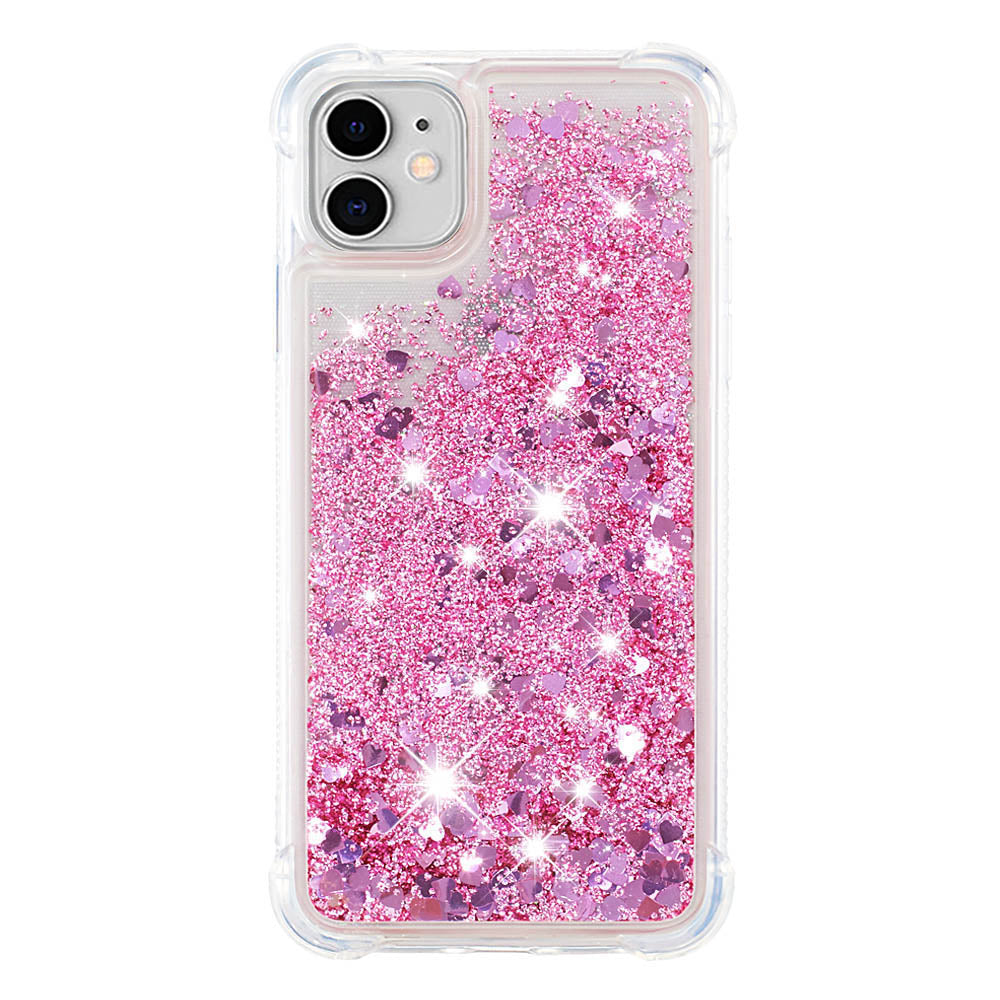 Glitter Case for iPhone 11 Anti-slip Bling Flowing Liquid TPU Bumper Cover for Girls Pink