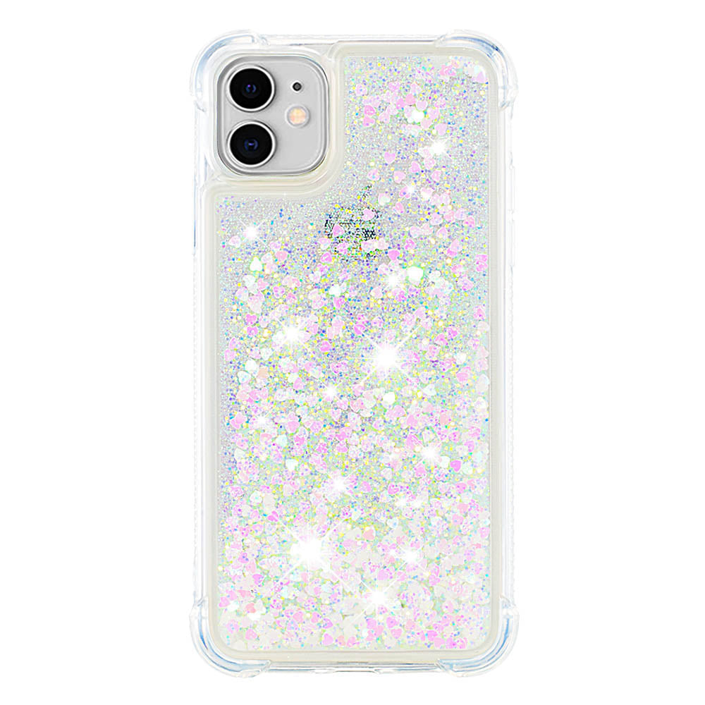 iPhone 11 Case Bling Flowing Liquid Floating Sparkle TPU Protective Phone Case Colorful