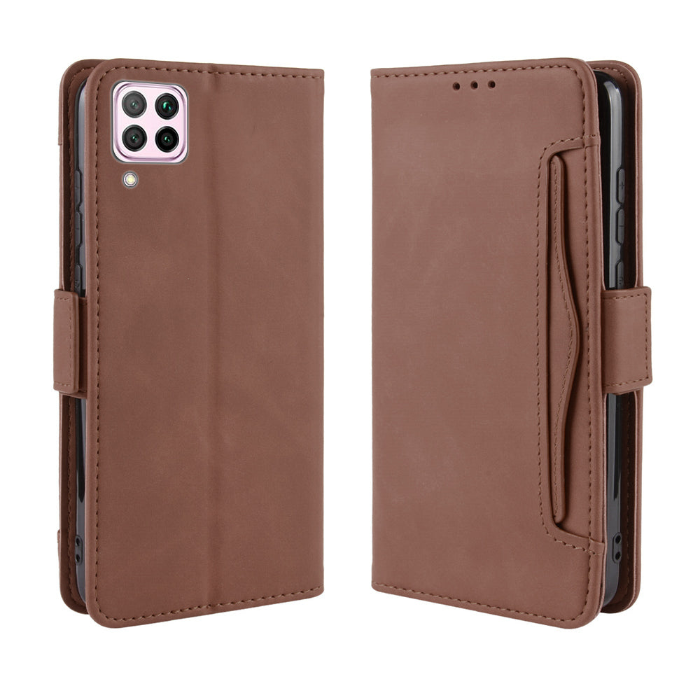 Huawei nova 6 SE Case PU Leather Flip Purse Cover Multi Credit Card Holders TPU Skin Case Brown