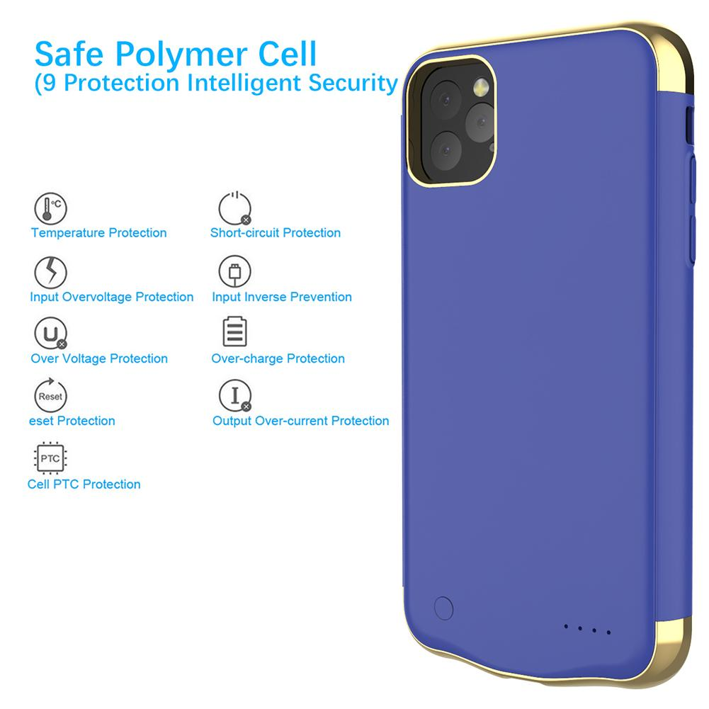 iPhone 11 Pro Battery Case 5500mah Rechargeable Power Bank Protective Cover Blue
