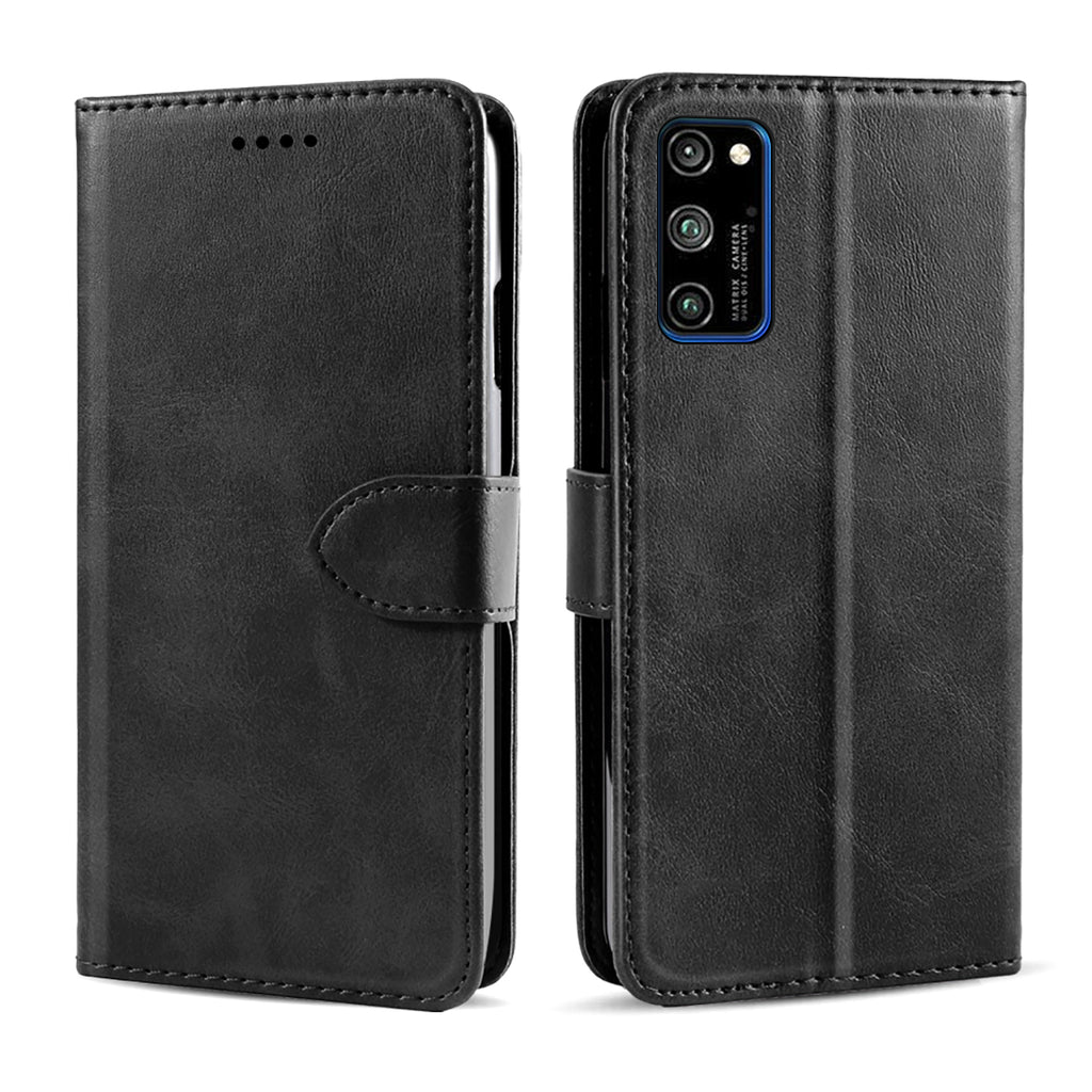 Wallet Case for Honor V30 Pro with Card Holder Pocket Magnetic Calf Grain Leather Cover Black