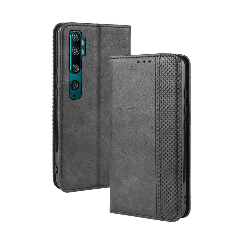 Xiaomi Mi Note 10 Wallet Case Book Flip Leather Cover and Credit Card Slot Magnetic Closure Black