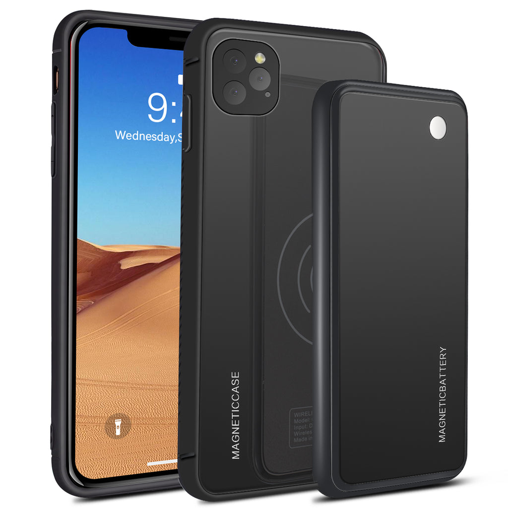 iPhone 11 Pro Max Battery Case 5000mAh Fast Wireless Charging Case External Backup Black