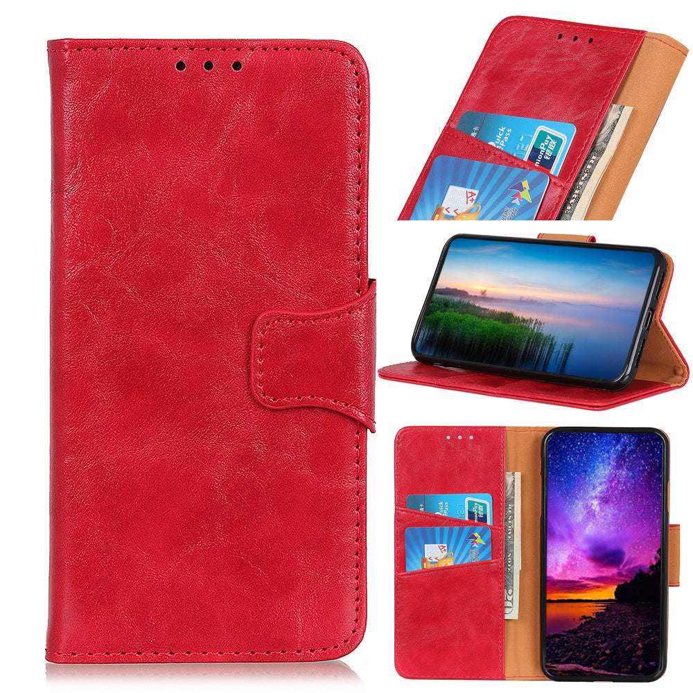 Leather Wallet case for Realme X2 Pro with Credit Cards Pocket Magnetic Closure Red