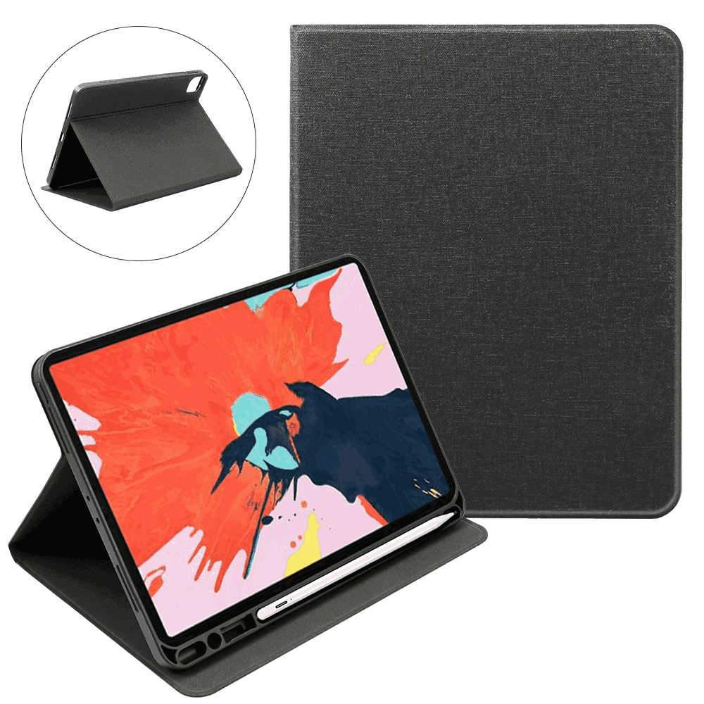 Leather Case for iPad Pro 12.9 Inch 2020 PC Cover with Auto Sleep/Wake Function Pen Holder Black