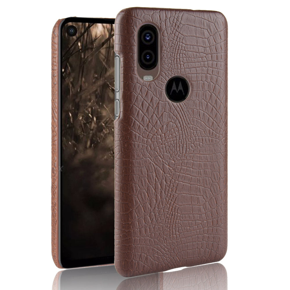 Motorola One Vision Case Shock Absorbtion Crocodile PC Thin Phone Cover Brown