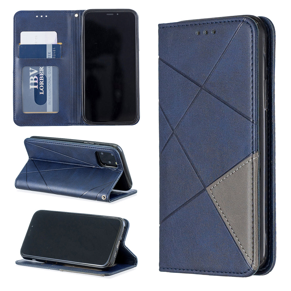 Wallet Case for iPhone 11 Ultra Slim Diamond Shape Cover with 2 Card Slots Blue