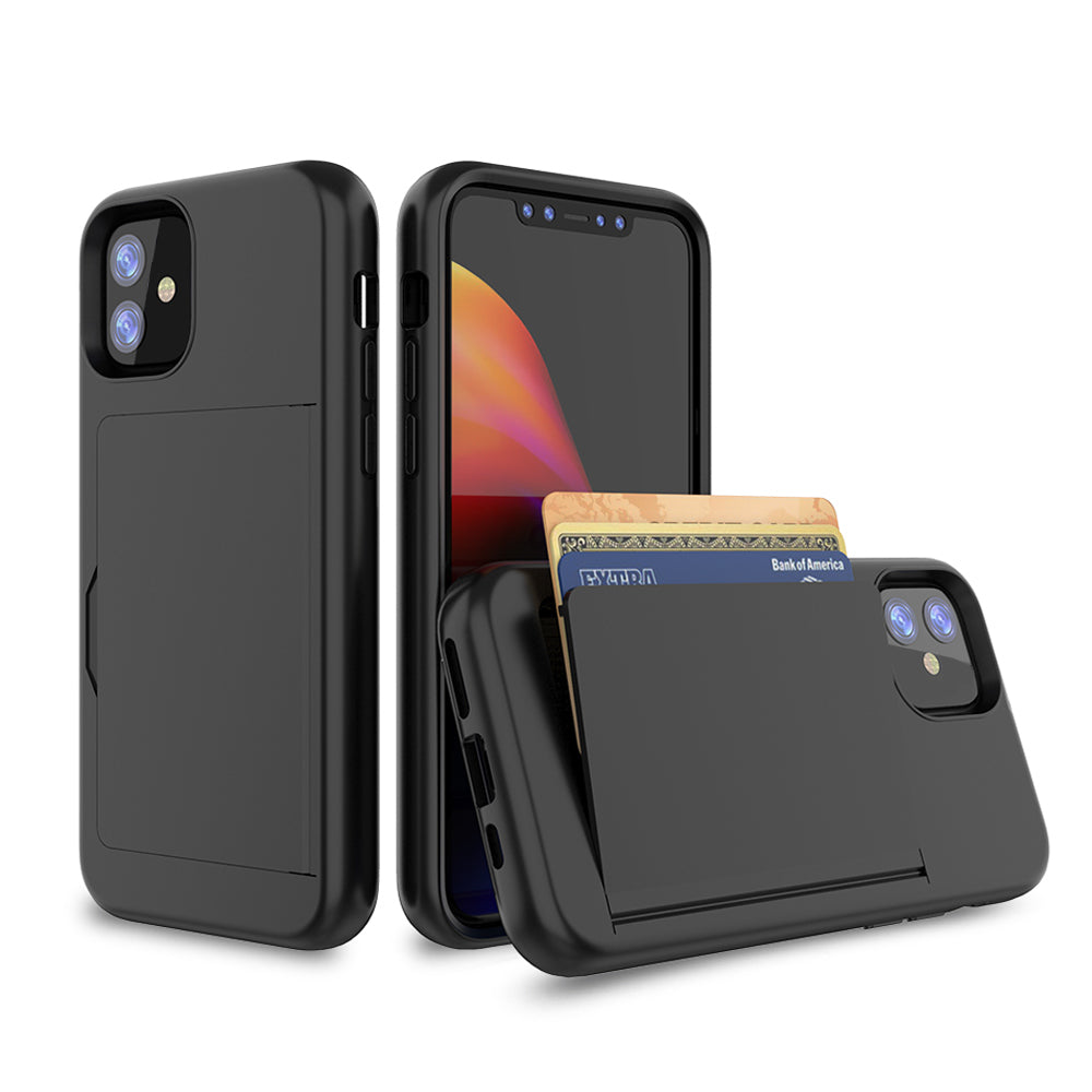 iPhone 11 Case with Card Holder Heavy Duty Protection Phone Cover Black